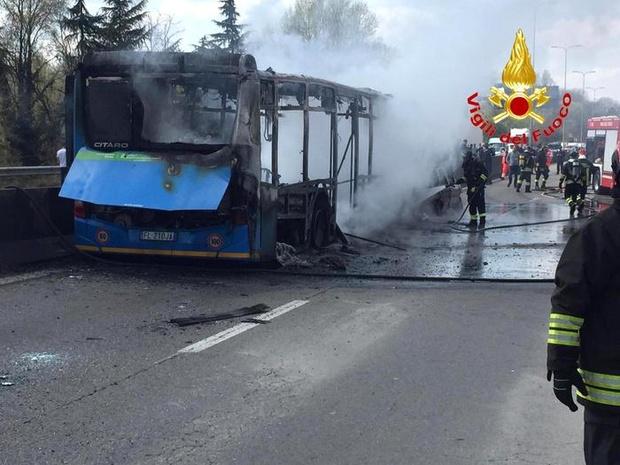 Italian driver hijacks and torches school bus full of children