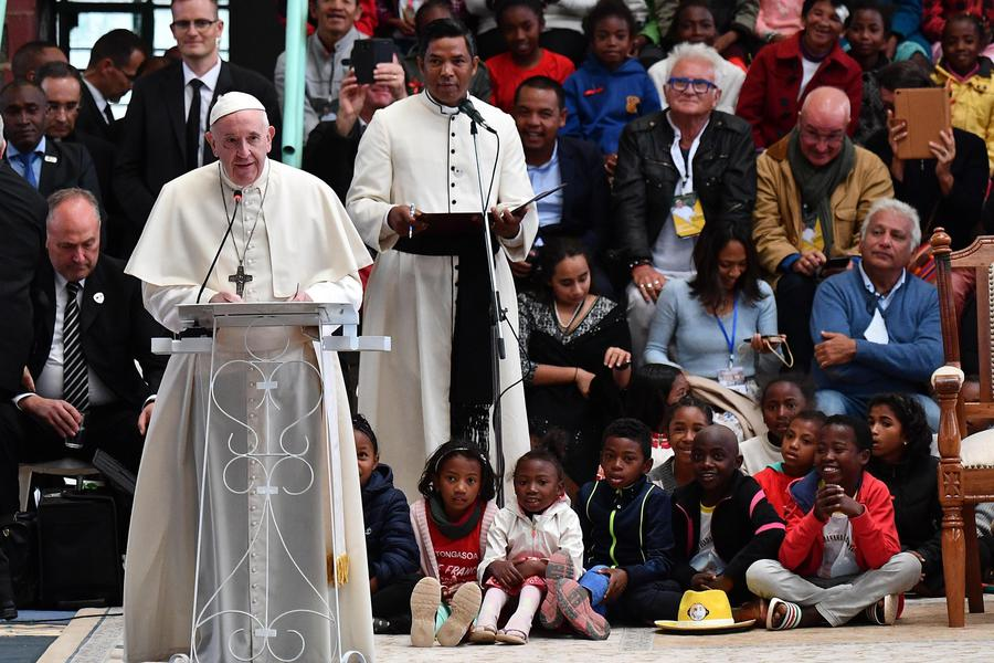 Pope Francis speaking in Madagascar